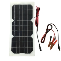 Workstar 18V 10W Semi flexible Mono Solar Panel Solar Cell DC Module 12V Battery Charger Maintenance with 3M cable