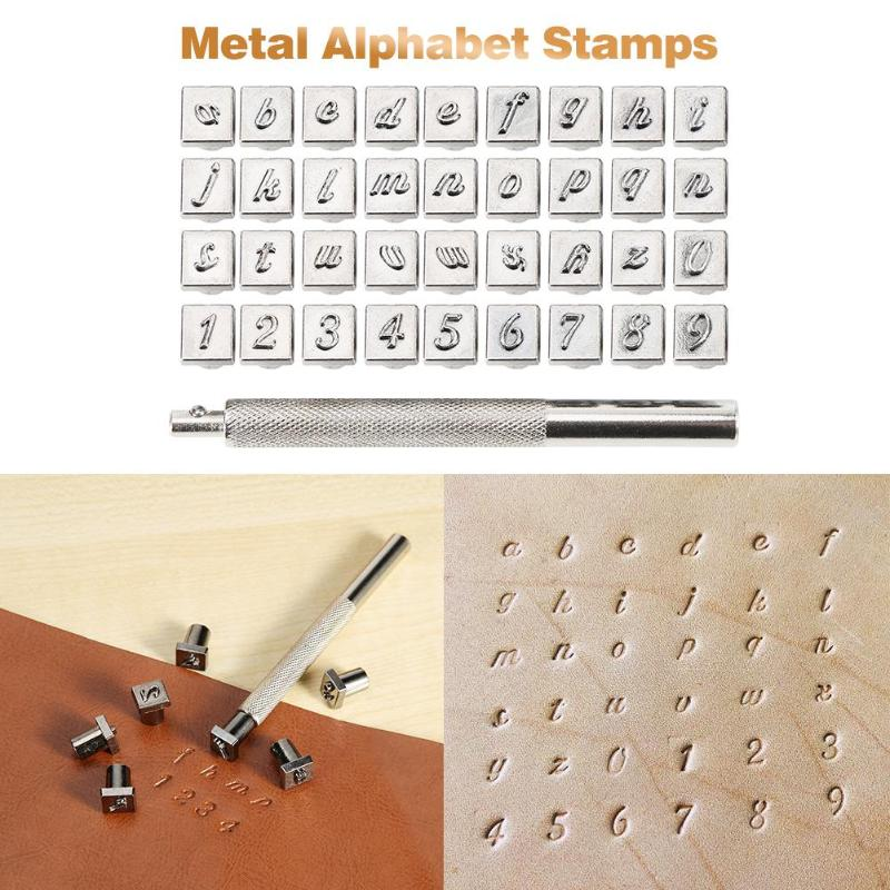 36pcs Steel Alphabet Number Leather Stamp Punch Set DIY Leather Craft Tools Kit Leathercraft Stamping Tool 3mm 6mm