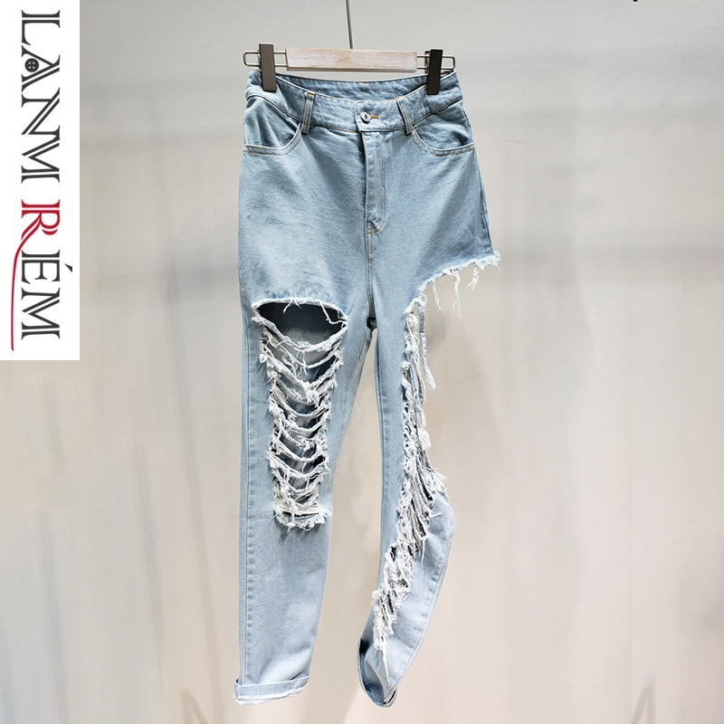 LANMREM 2019 Summer New Style Tassel Hole Legs Sexy Vintage Jeans For Women Straight Fashion Personality Denim Pants Women QF244
