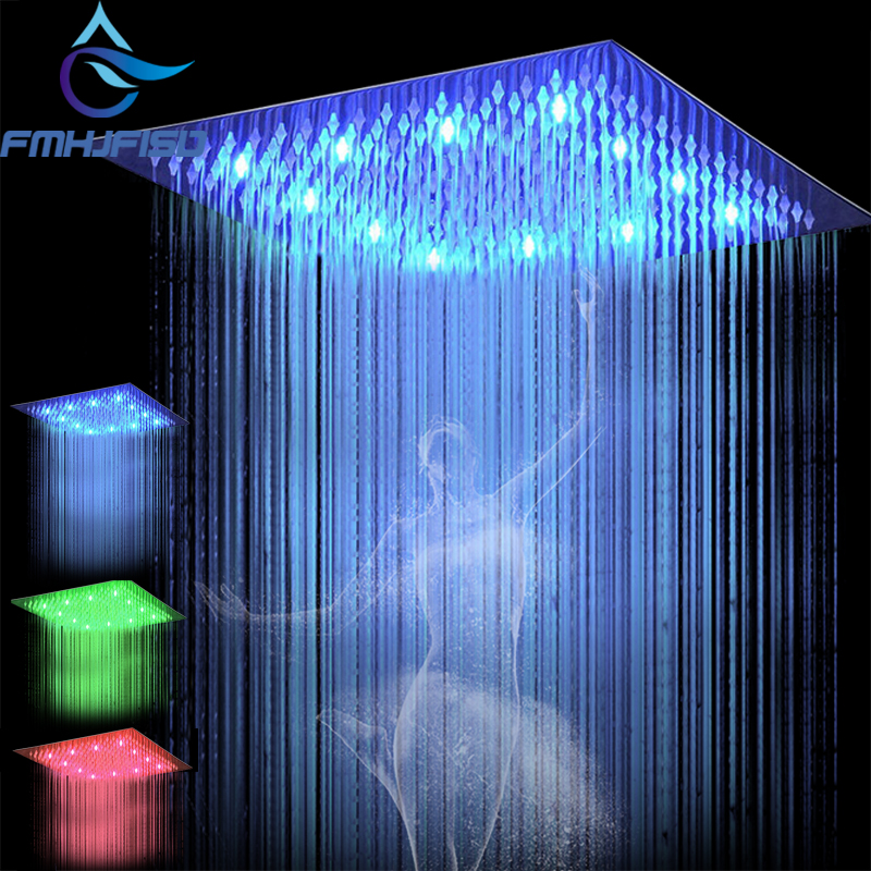 12 Inch Rain Led Shower Head Stainless Steel Water Powered 30CM 30CM Led Showerhead Rain Shower