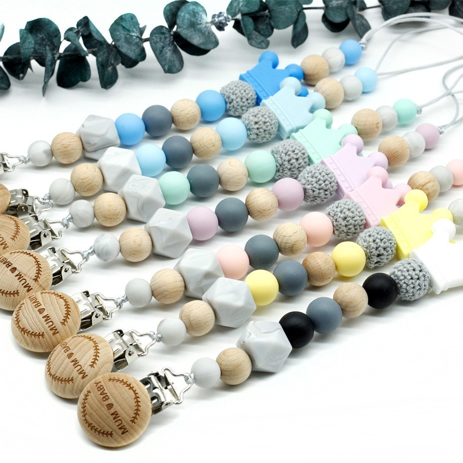 Cute Crown Baby Teether Pacifier Chain Chew Toy 7 Color Silicone Dummy Clip Baby Must-have Items Handmade