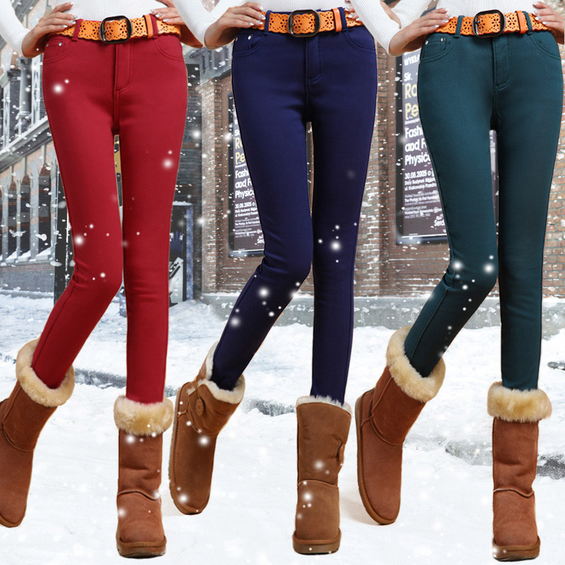 Fleece Thicken High Waist Women's Pencil Pants Elastic Slim Candy Color Skinny Plus Size Clothes 2019 Winter Trousers For Women