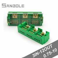 Connection Distribution Box 3-in 12-out Three phase Green Terminal Block Row Junction Metering Box Part Line