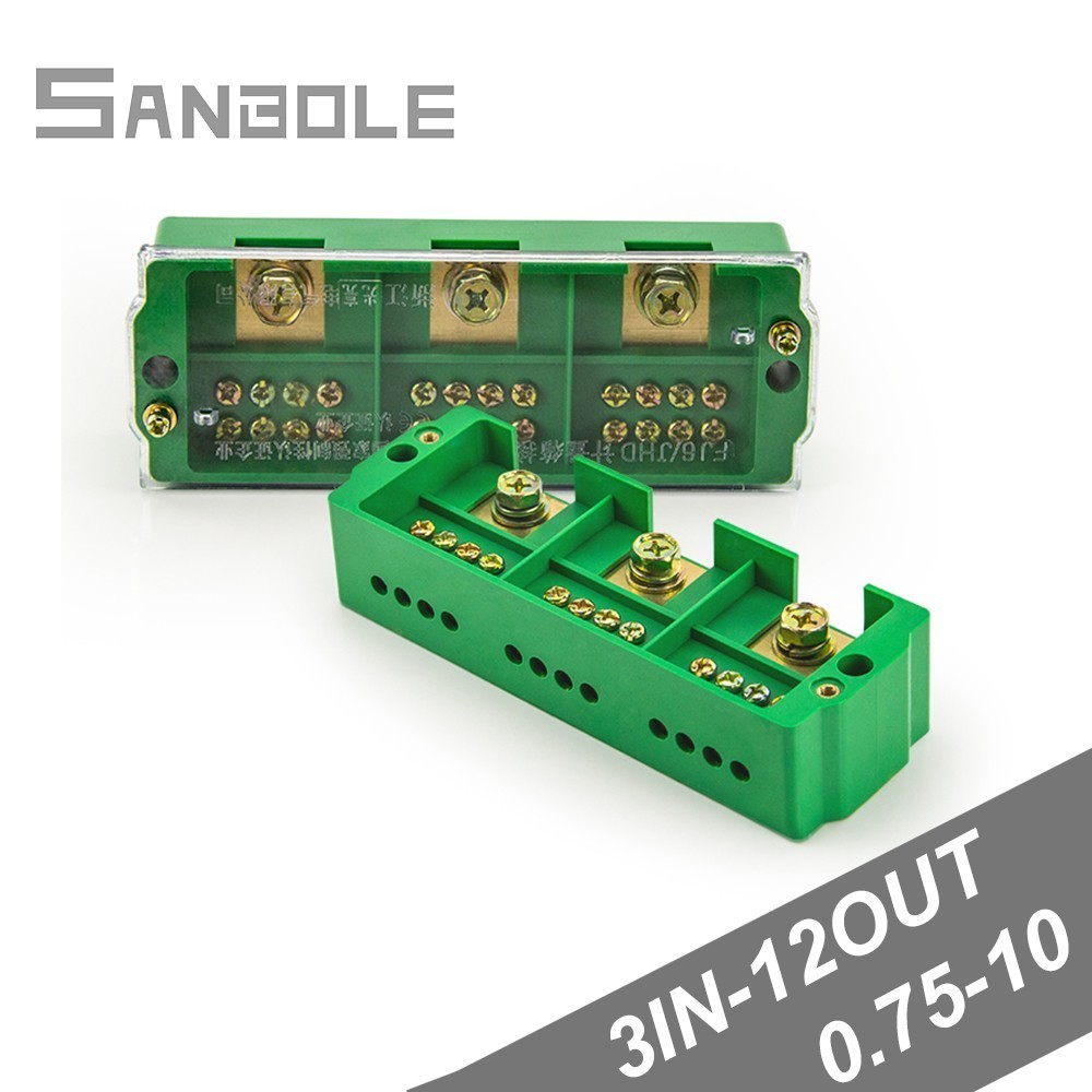 Connection Distribution Box 3-in 12-out Three phase Green Terminal Block Row Junction Metering Box Part Line image