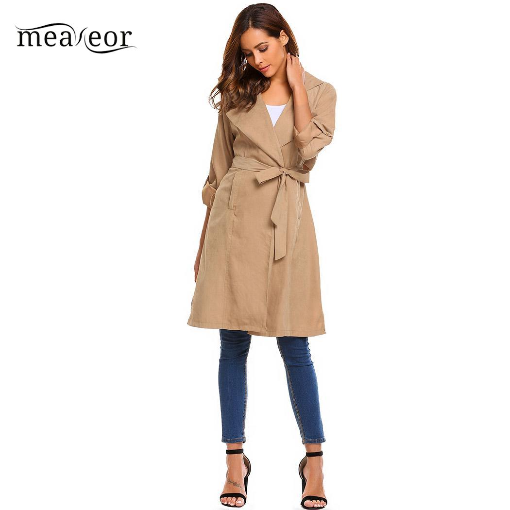 Meaneor Classic Women   Trench   Overcoat Roll Up Sleeve Open Front Casual Autumn Long   Trench   with Belt Solid Autumn Cardigan Coats