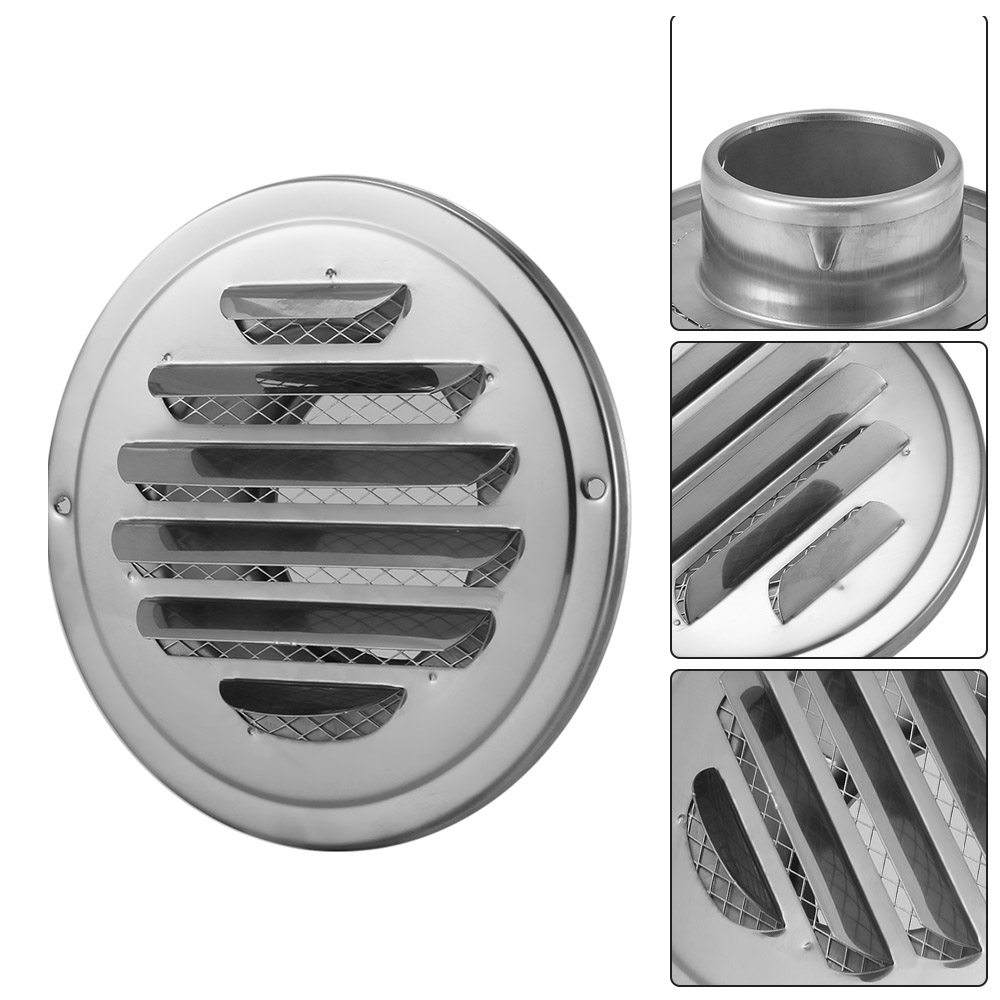 Low Noise Air Vent Ventilation Grill Cover Round Wall Ceiling Mounted Soffit Vent Built-In Fly Screen Mesh For Bathroom Office