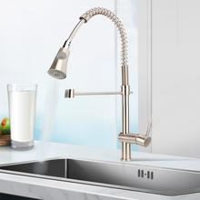Spring Single Handle Water Faucet Pull Down Kitchen faucet Nickel Plating Brush Bathroom Sink Cold & Hot Mixer Tap