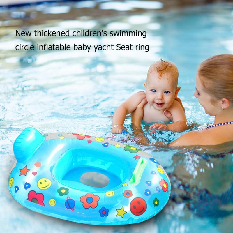 Baby Swimming Ring Cartoon Print Safety Infant Inflatable Neck Float Circle Summer Swimming Water Toys For Children