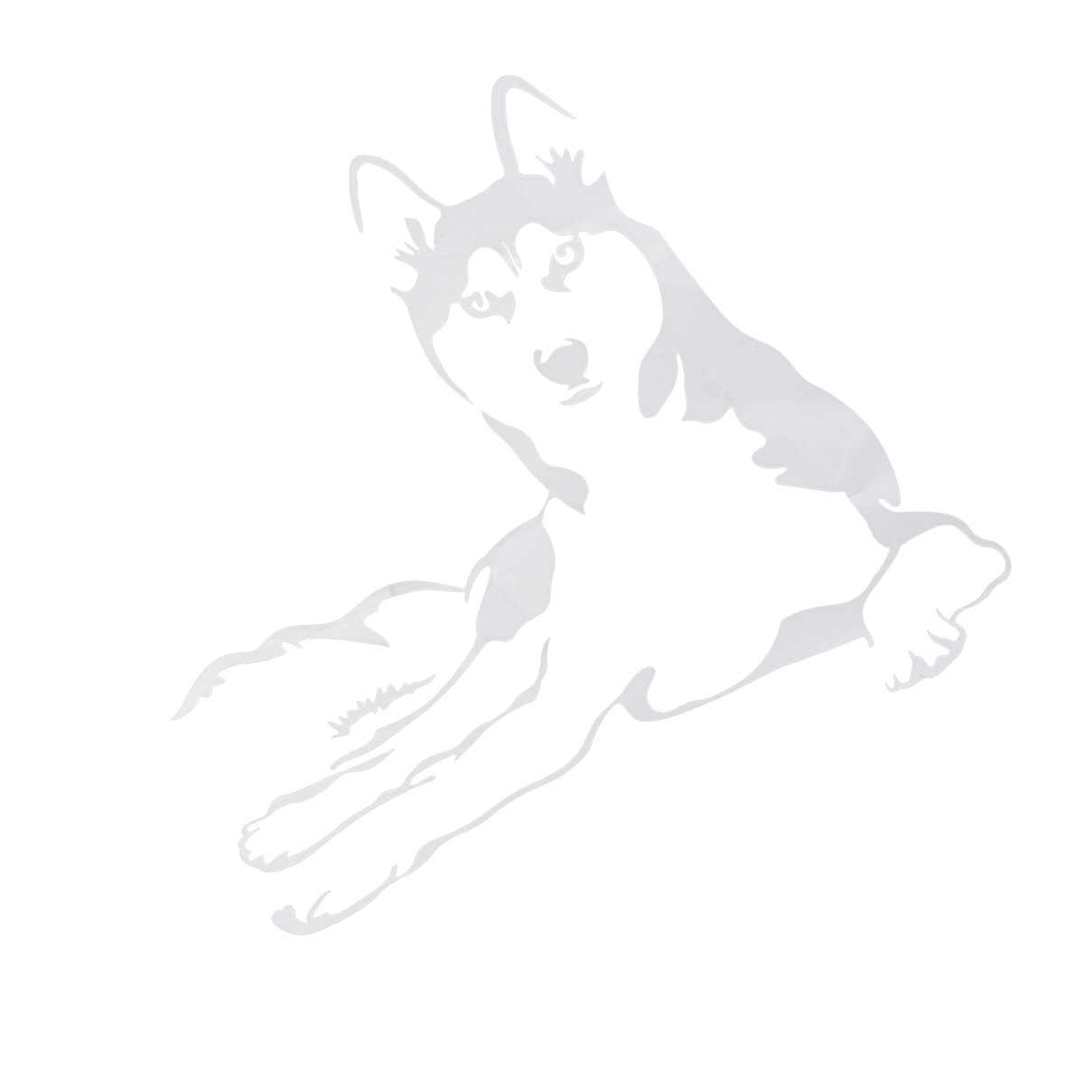 Naklejki samochodowe śmieszne zwierząt pies Huskie naklejki pojazd ciężarówka poza dekoracji odblaskowa naklejka (biały)