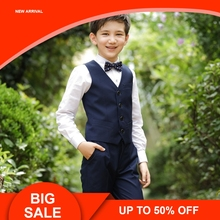 Flowers Boys Formal Suit Wedding campus student Dress Gentleman Kids Waistcoat Shirt Pant Bowtie 4Pcs ceremony Costumes brand wedding suit for flower boys campus student formal dress gentleman kids blazer shirt pant bowtie 4pcs ceremony costumes