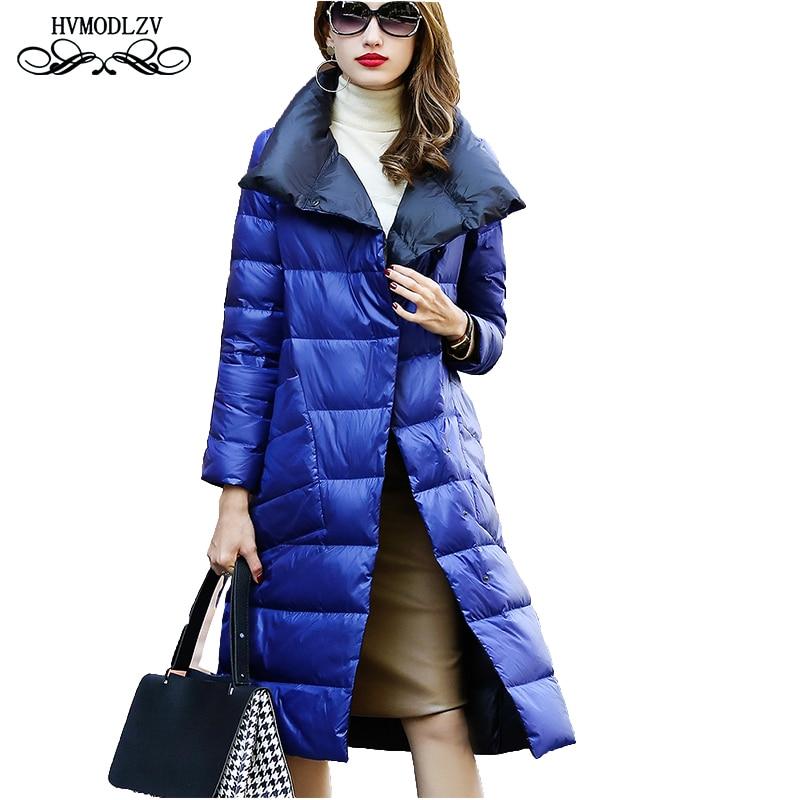 2018 Winter New Plus size Long   down   jacket Women Fashion Two sides can wear Loose white duck   down     coat   female parka lj313