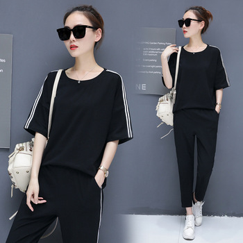2020 korean style women fashion clothing summer clothes for two piece set top and pants 2 sets womens outfits tracksuit