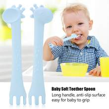 Baby Silicon Spoon Baby Safety Cute Giraffee Kids Children Flatware Feeding Spoons(China)