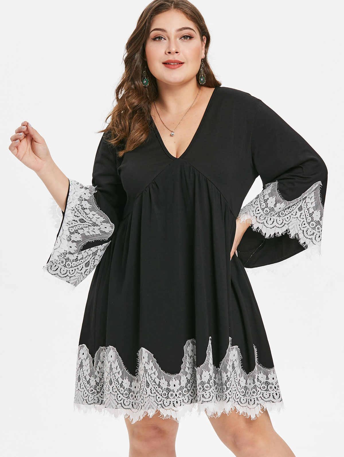 46efa0063b Wipalo Women Plus Size Sheer Lace Sleeve High Low Hem Dress Casual ...