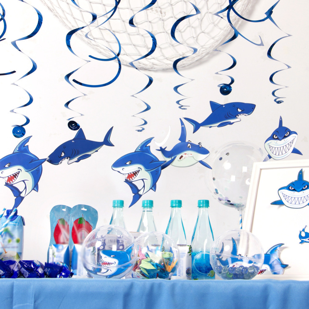 Balloons Home Garden Baby Shark Birthday Party Decorations Supplies Under Sea Themed Hanging Swirl