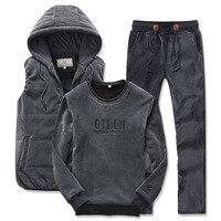 3 Pieces Set Detachable Fur Hoodie Vest Badges Fleece Sweatshirt Pants Joggingg Suit Hoodie Set Men M 4XL Winter Mens Tracksuit