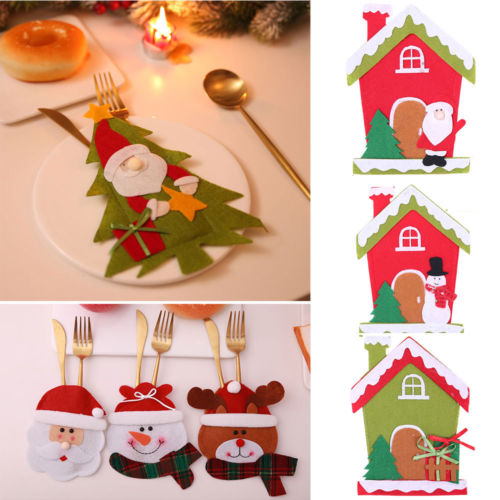 Newly Christmas knife and fork bag Cutlery set Santa Claus Table cutlery sets