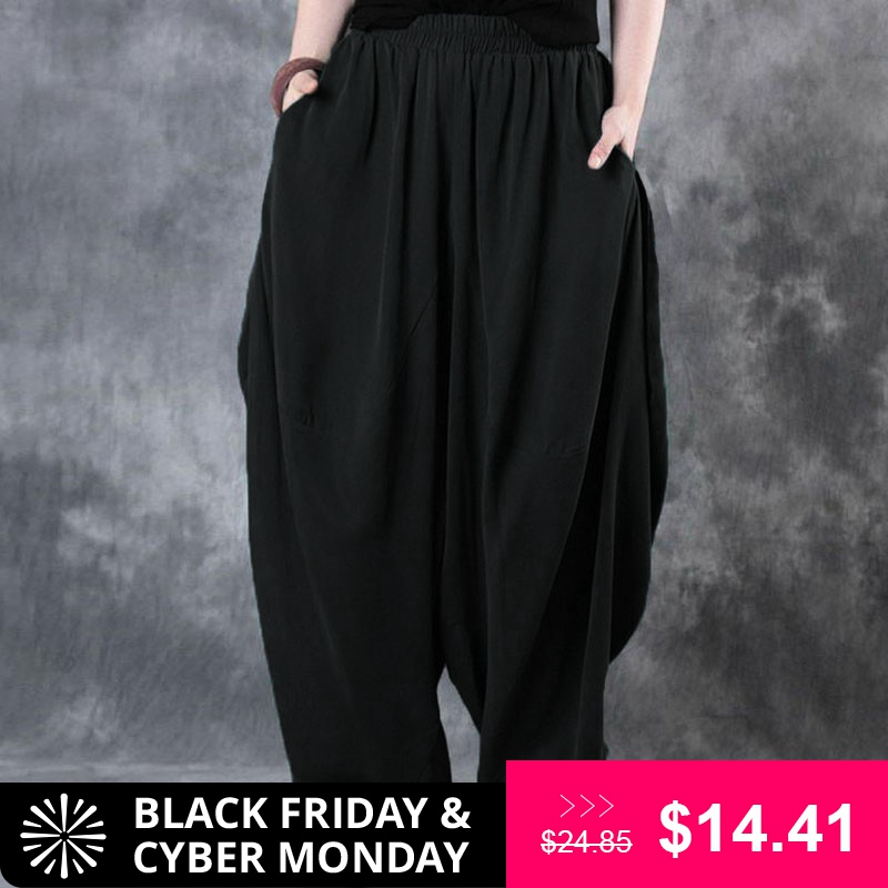 Plus Size ZANZEA Elastic Waist Loose   Wide     Leg     Pants   Woman Cotton Linen Vintage Solid Baggy Harem   Pants   Trousers Pantalon Femme