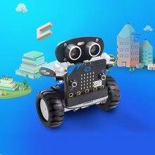 마이크로 비트 로봇 키트 프로그래밍 가능한 qbit 로봇 rc 자동차 app 제어 마이크로 비트가있는 웹 그래픽 프로그램