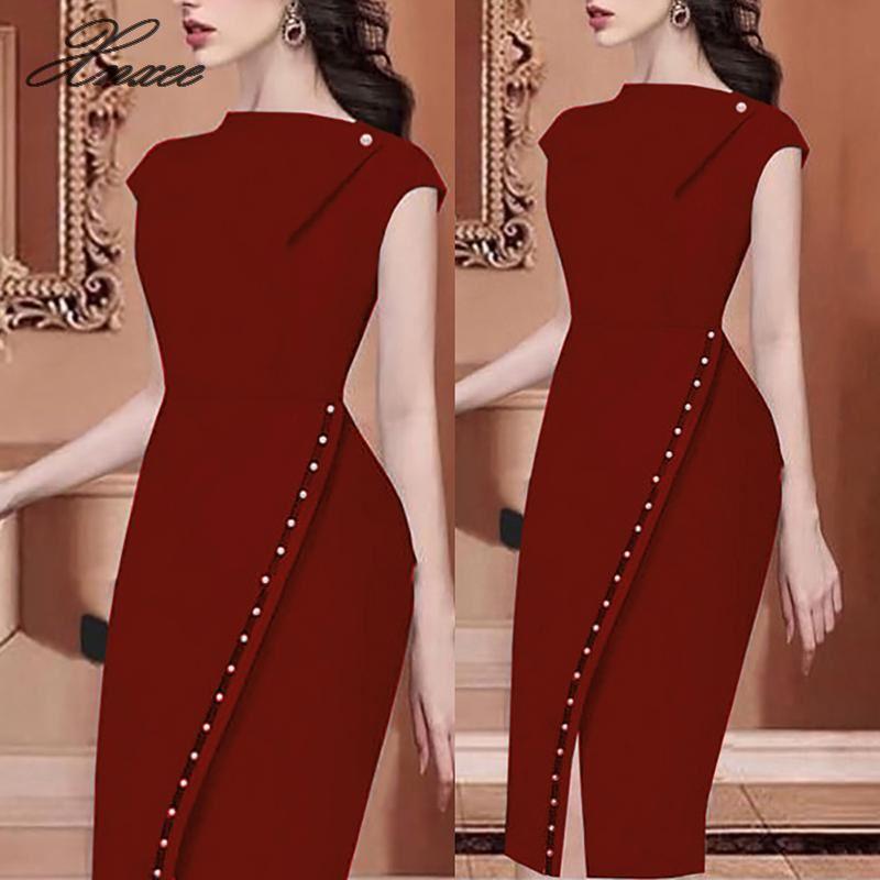 Image 2 - 2020 Women Elegant Casual Office Look Workwear Slit Party Dress  Solid Button Beading Embellished Slit Irregular Midi DressDresses   -