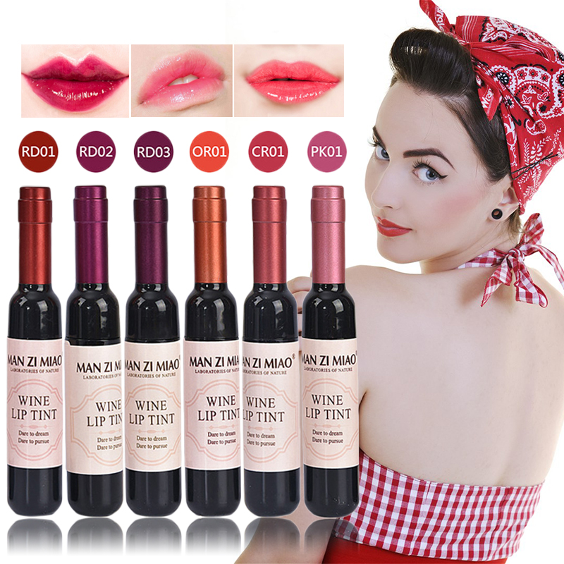 LEARNEVER New Arrival Wine Red Korean Style Lip Tint Baby Pink Lip For Women Makeup Liquid Lipstick Lip gloss red lips Cosmetic