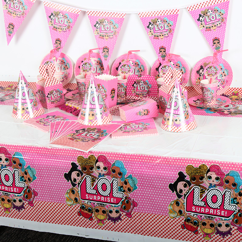 130Pcs/Lot Surprise Dolls Theme Baby Shower Kid Girl Birthday Party Toy Paper Cup Plate Napkin Wedding Gift Bag Candy Box Supply