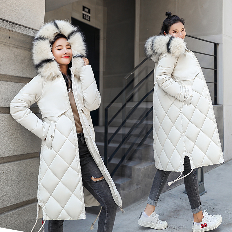 Fashion Women Down   Parka   Women Color Collar 2019 New Korean Super Long Overcoats Ladies Slim Cap Sleeved Warm Cotton Coat