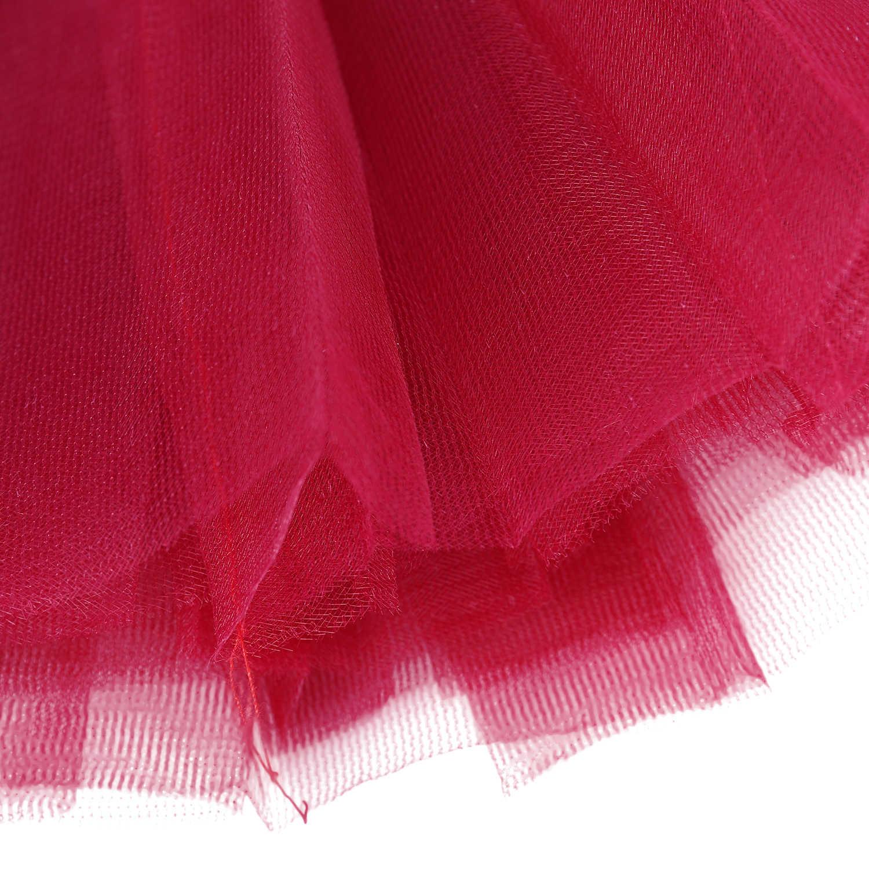 チュールスカート女の子、アンスコチュスカートペチコートショートスカート (ナツメ赤)
