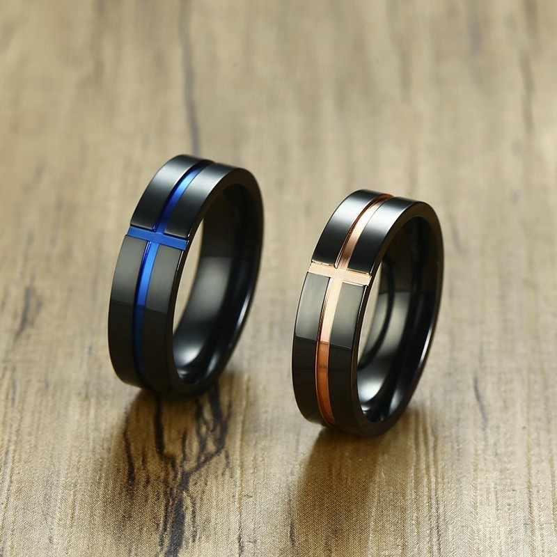 Vnox кольцо контрастного цвета для мужчин 6 мм Черная Нержавеющая Сталь синяя поперечная полоса повседневные мужские задние кольца