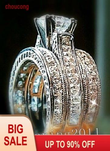 choucong Ketibaan Puteri memotong 6mm Batu 5A Batu zirkon 14KT Emas Putih Diisi 3 Perhiasan Band Ring Set Sz 5-11 Hadiah