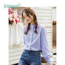 INMAN primavera otoño algodón Turn Down Collar literario Retro Casual todo combinado suelta camisa de manga larga de las mujeres