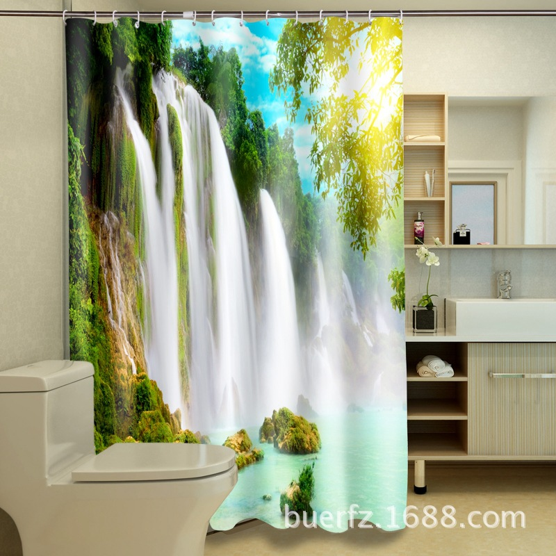 3D Waterfall waterproof printing  polyester shower curtain cool shower curtains for bathroom free shipping