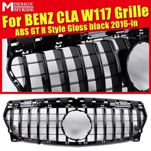 For W117 Front Bumper Grille GTS Style ABS Gloss Black CLA-Class CLA180 CLA200 CLA250 CLA45 Without emblem 2016-in