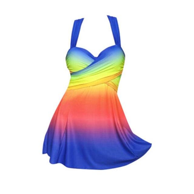 Новые пикантные Для женщин пляжные Плавание платье Плавание костюм пляжная одежда росту Плавание одежда плюс Размеры Радуга Цвет бикини