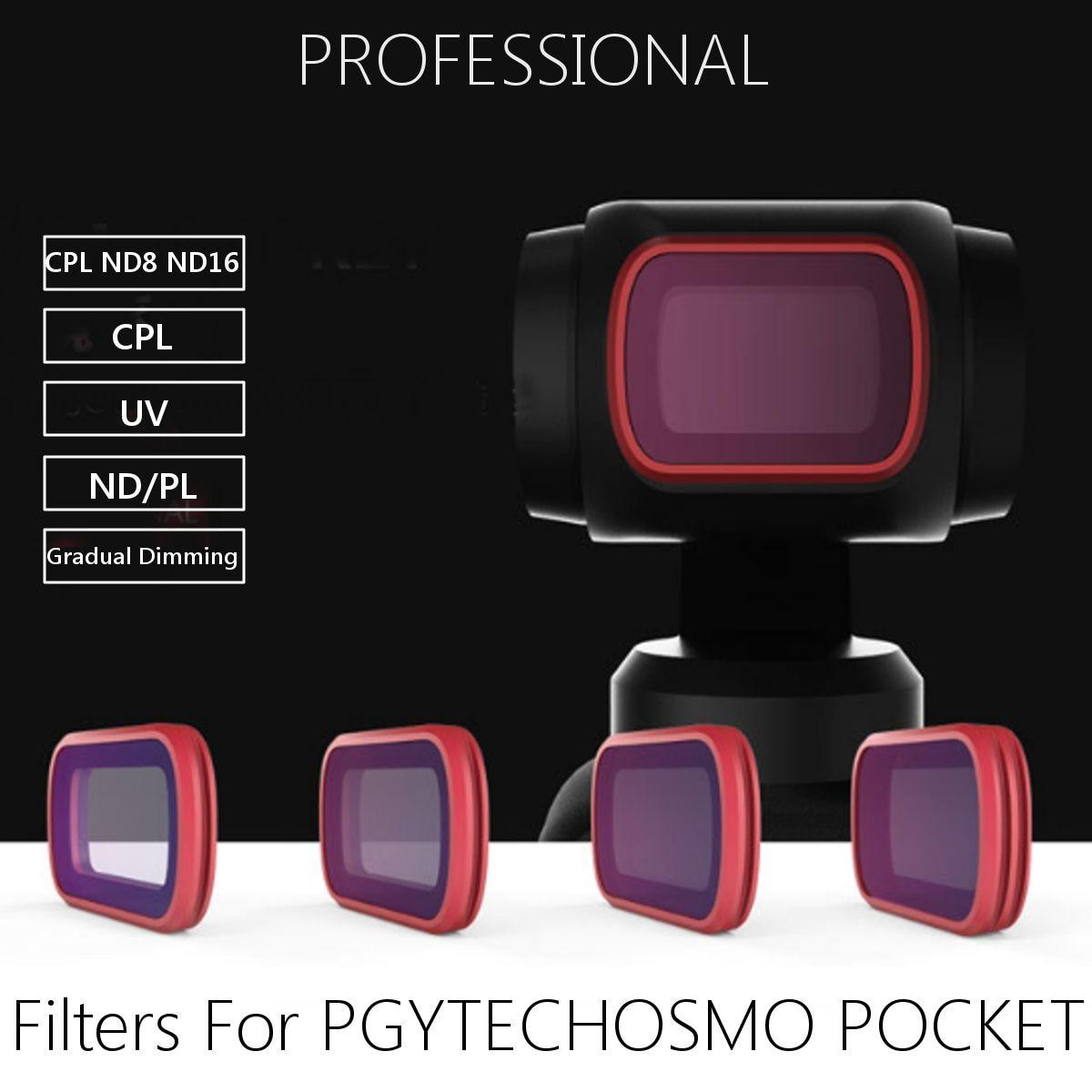 Kit de filtre professionnel pour objectif de caméra Kit UV CPL ND8 ND16 pour poche PGYTECHOSMO-filtres à gradation progressive Compatible Ultra-mince