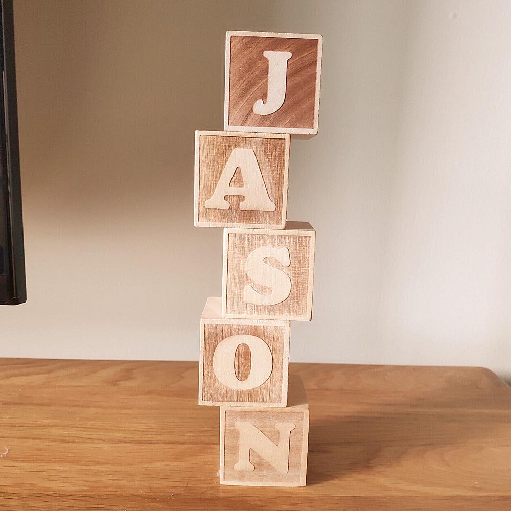 Деревянные буквы алфавита в скандинавском стиле, именные блоки для детской комнаты, украшения для фотосъемки, подарок для новорожденного
