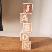 Letras do alfabeto de madeira estilo nórdico, blocos de nome do bebê para decoração do berçário, quarto, shoot, lembrança de recém-nascido