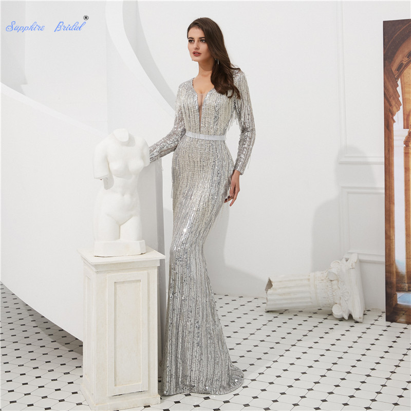 Sapphire Bridal Sparkly Sequined Cloth Sexy Mermaid   Evening     Dress   with Tassel Vestido De Fiesta Illusion V-neck Formal   Dress