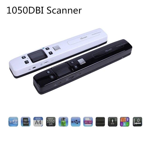IScan Tài Liệu 1050 DPI Bộ Phát Wifi Di Động Máy Quét A4 Quyển Sách Không Dây Máy Quét USB2.0 JPG/PDF 32 Thẻ Nhớ TF màn Hình LCD Hiển Thị