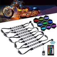 10xLED RGB Atmosphere Ambient Lamp Motorcycle Car Light LED Strip Optical Fiber Interior Decor Light Double Remote