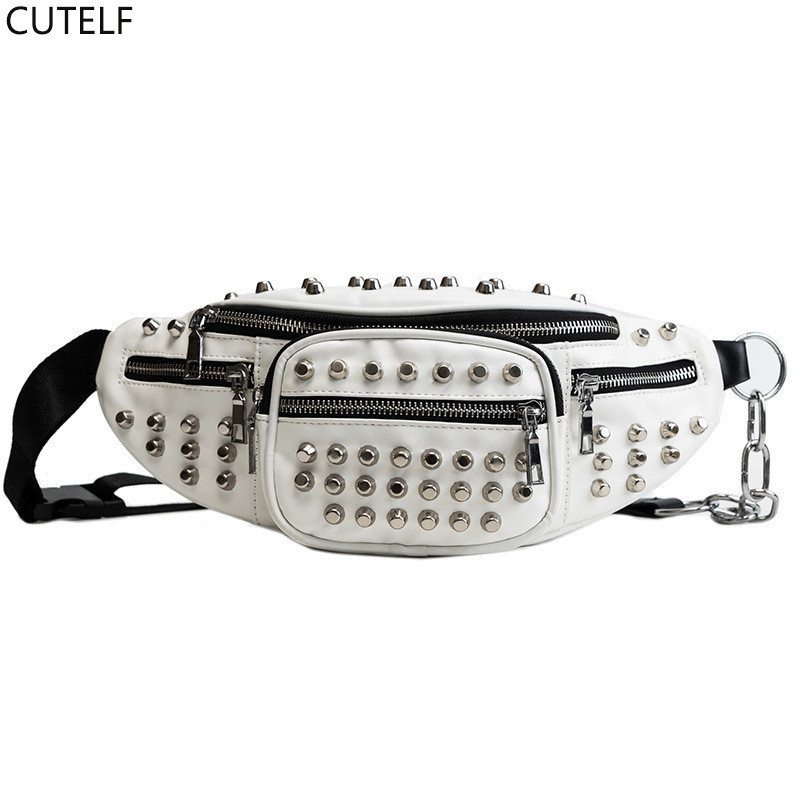 Women Fanny Pack Punk Style Waist Belt Bag Pouch With Rivets Pu Leather Fanny Packs Fashion Ladies Crossbody Travel Chest Bag
