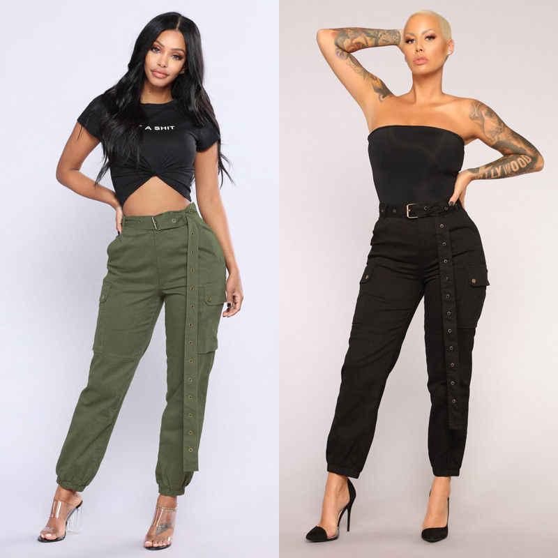 a53efbc1ab90 High Waist Pants Loose Joggers Women Army Green Black Harem Camo Pants  Streetwear Pockets Cargo Pants
