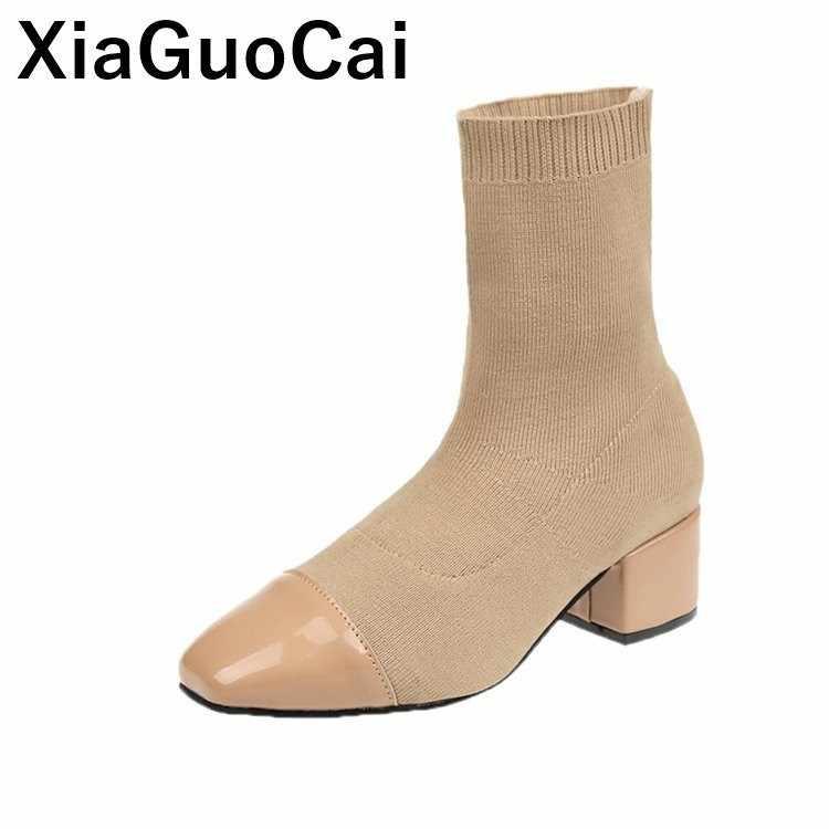 Nouveau Femmes Bottes 2019 Printemps Automne Femme Chaussures High Top Sexy Mince Dames Chaussettes Chaussures Respirant Slip-on Femme cheville Bottes