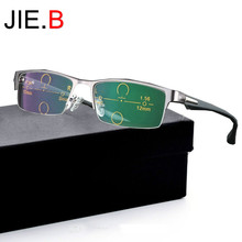 JIE.B Progressive Multifocal glasses Photochromic reading Flexible Temples Legs Half Frame Male Presbyopia