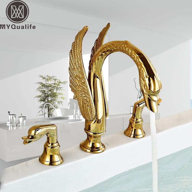 Dual Handle Swan Basin Faucet Golden Bathroom Widespread Basin Sink Mixer Tap Arch Design Luxury Wash Taps Hot And Cold Faucet Трубопроводный кран