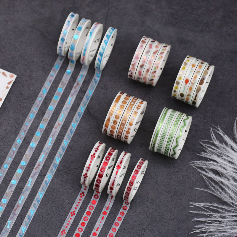 4Pcs/Set Gold Foil Washi Tape Glitter Decorative Tape Cute Thin Masking Tape For Diary DIY Sticker Scrapbooking Stationery Tape