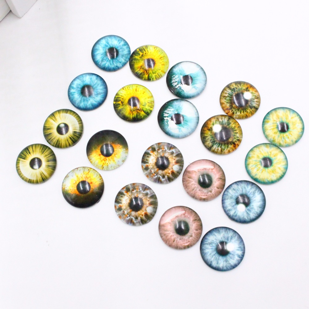 20Pcs/ Pack 8/12/18MM /Glass Dolls Eye DIY Crafts Eyes For Children Toy Dinosaur Animal Eye Accessories Color Random