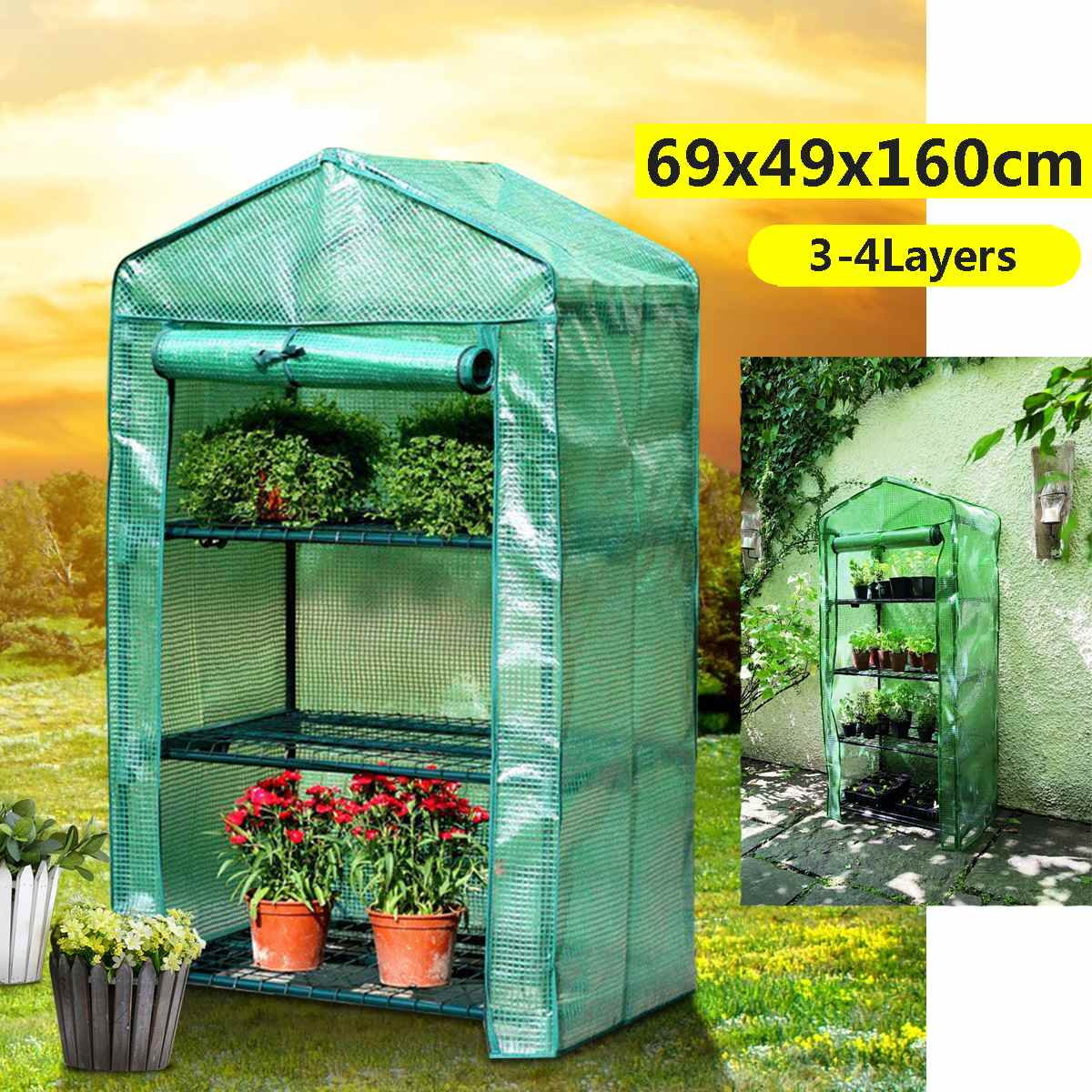 2019 Fashion Apex-roof 5-tier Garden Greenhouse Hot Plant House Shelf Shed Clear Pvc Cover Keep Warm Good Breathability 69x49x187cm Removable Garden Buildings