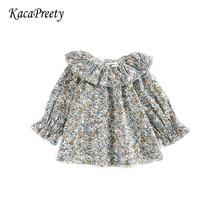 Рубашка с оборками для девочек от 0 до 24 месяцев хлопковая Кружевная блуза с длинными рукавами Топы для новорожденных, Детские рубашки Одежда для девочек весна-осень