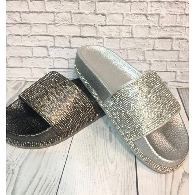 Women Flip Flops Fashion Women Slipper Female Crystal Flat Summer Shoes  Rhinestone Thick Bottom Bling Beach Slides(China)